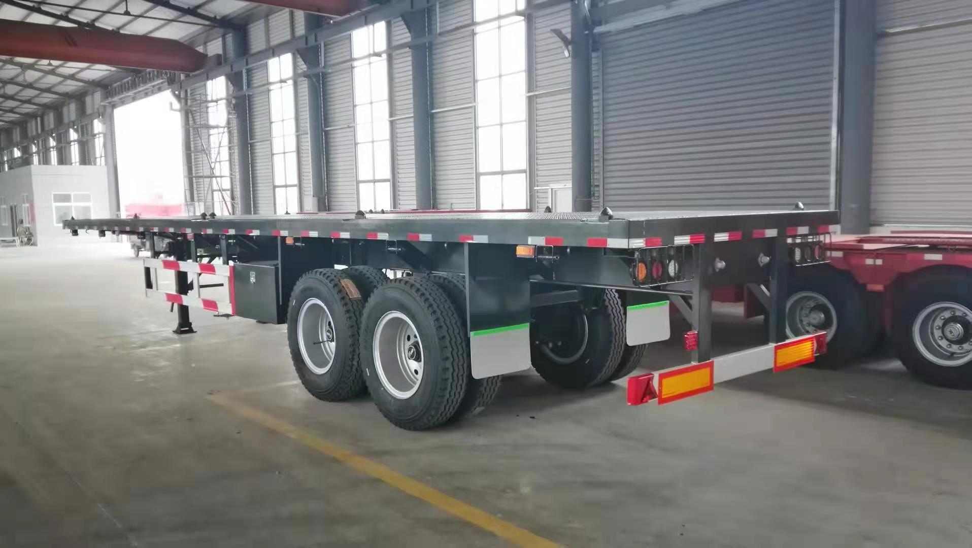 12.4m Flatbed Platform Semi Trailer with Fuwa Axle,Jost 50# King Pin