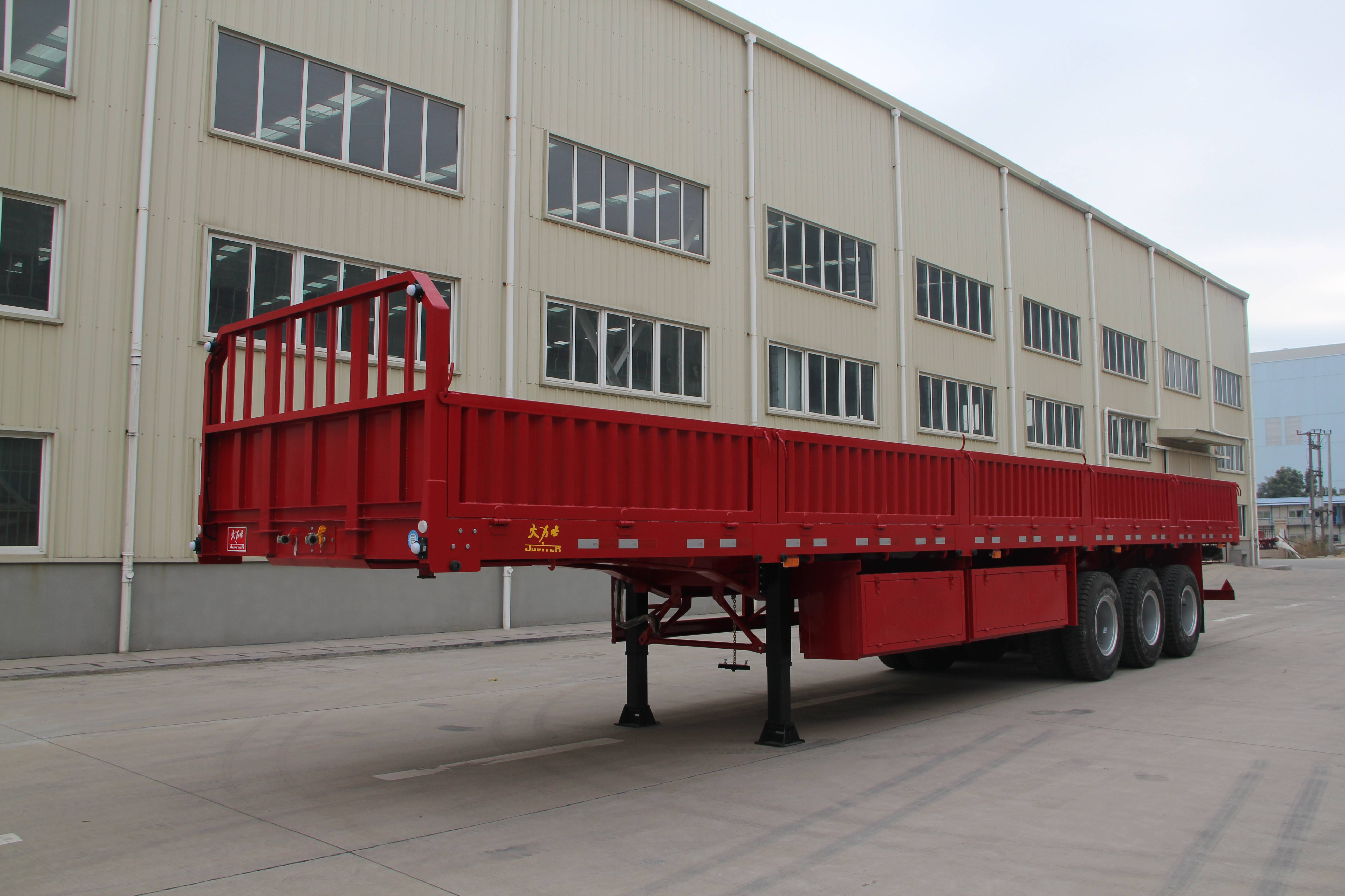 40ft Tri Axle Flatbed Semi Trailer with 1000mm Siding